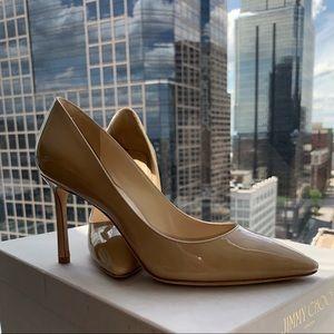 Jimmy Choo Shoes - Jimmy Choo Romy 85mm Nude Patent Pumps 36.5